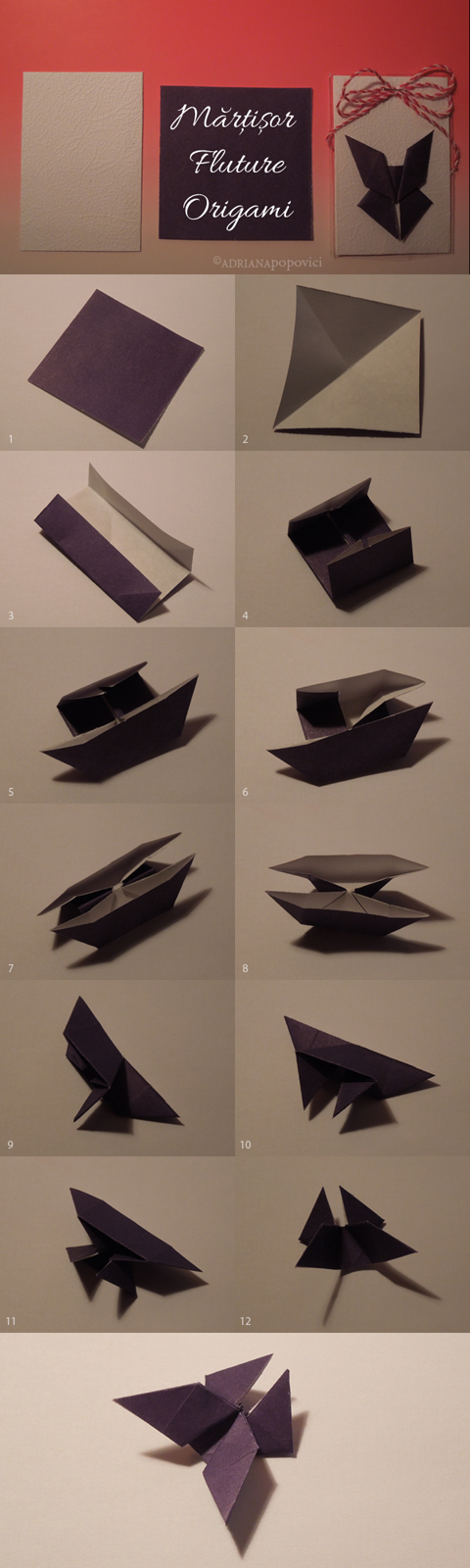 Tutorial fluture origami